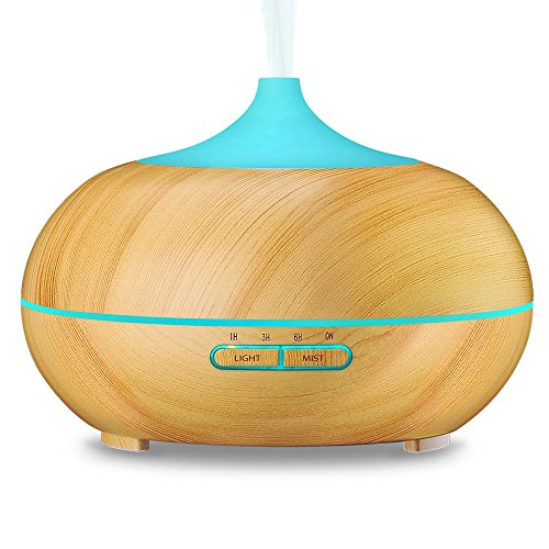 VicTsing 300ml Odour Essential Oil Diffuser, Wood Grain Ultrasonic Cool Mist Humidifier for Office Home Bedroom Living Reside Study Yoga Spa