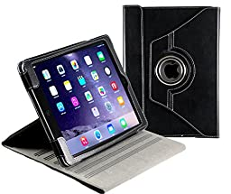 Navitech Black Real Leather Case for Apple iPad Air 2 (2nd Gen) & iPad Air (1st Gen) with 360 Degree Rotating Multi Stand