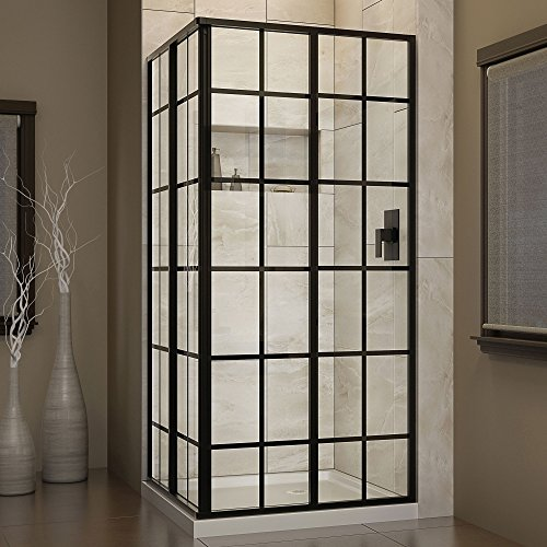 DreamLine-French-Corner-34-12-in-D-x-34-12-in-W-Framed-Sliding-Shower-Enclosure-532-Glass-Satin-Black-Finish