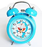 "6025B Extremely Silent Children Cartoon Metal Twin Bell Alarm Clock 3"" (Doraemon - Blue)"