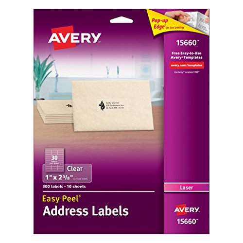 Avery Easy Peel Clear Address Labels for Laser Printers, 1 x 2.625, Pack of 300 (15660) (Mail Sealer compare prices)