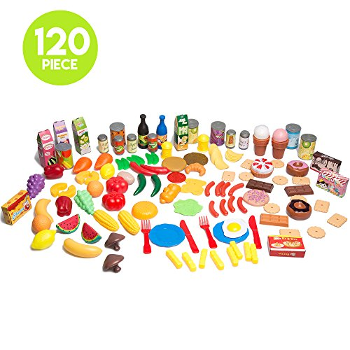 120 Piece Pretend Food Playset - Plastic Play Food Toys Set for Kids (Play Food For Grill compare prices)