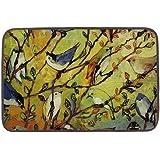 Ailovyo Bird's Life Soft Cotton Linen Floor Mat, 23.6-Inch x15.8-Inch