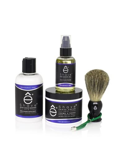 eShave Fragrance Free 4-Piece Solution Set, Black As You See