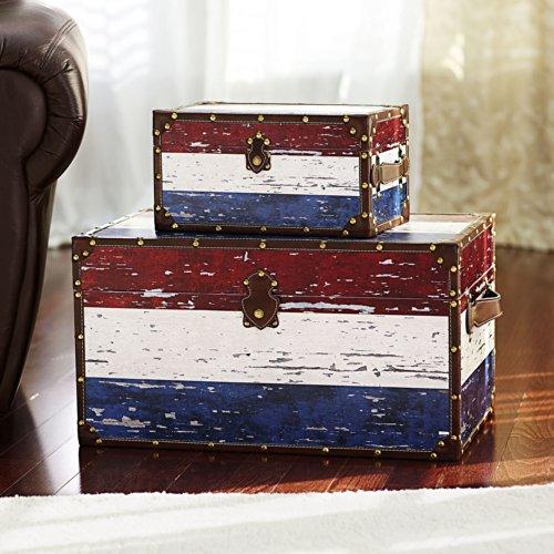 Household Essentials Decorative Storage Trunk Red White
