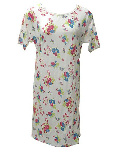 Short Sleeve White Watercolor Floral Print Cotton Nightgown Plus Size 8X