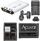 LI-42B Battery for Olympus Stylus and Tough Camera + Car/Home Charger for 7010, 7020, 7030, 7040, TG-310, TG-320, Tough-3000 Cameras + Acuvar Battery Pouch