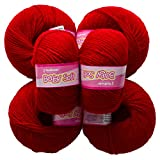Vardhman Acrylic Knitting Wool, Pack Of 6 (Deep Red) (Pack Of 8)