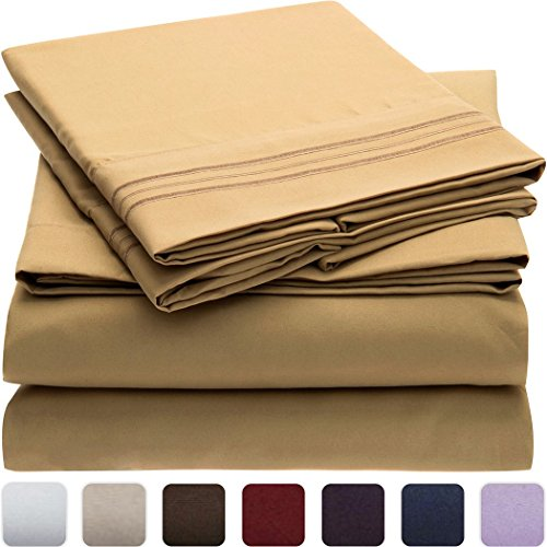 Mellanni-Bed-Sheet-Set-HIGHEST-QUALITY-Brushed-Microfiber-1800-Bedding-Wrinkle-Fade-Stain-Resistant-Hypoallergenic-3-Piece-Twin-Gold