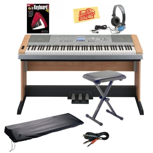 Yamaha DGX640C Digital Piano Bundle with Bench, Dust Cover, 3-Pedal System, 8GB SD Card, Audio Cable, Headphones, Instructional Book, and Polishing Cloth – Cherry