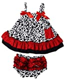 Masione Fashion Baby Toddlers Cute Soft Cotton Lovely Dress+Underpants Outfit (Size M, Cow)