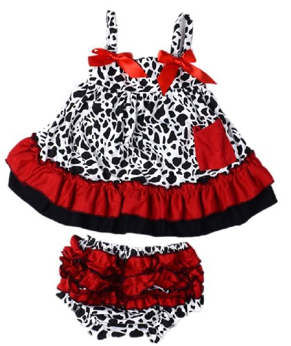 Masione Fashion Baby Toddlers Cute Soft Cotton Lovely Dress+Underpants Outfit (Size M, Cow) front-969367