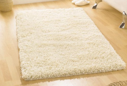 XLarge Heavy Weight Thick Luxurious Hand Tufted Wool Ivory Colour Shaggy Rug in 150 x 210 cm (5' x 7') Carpet