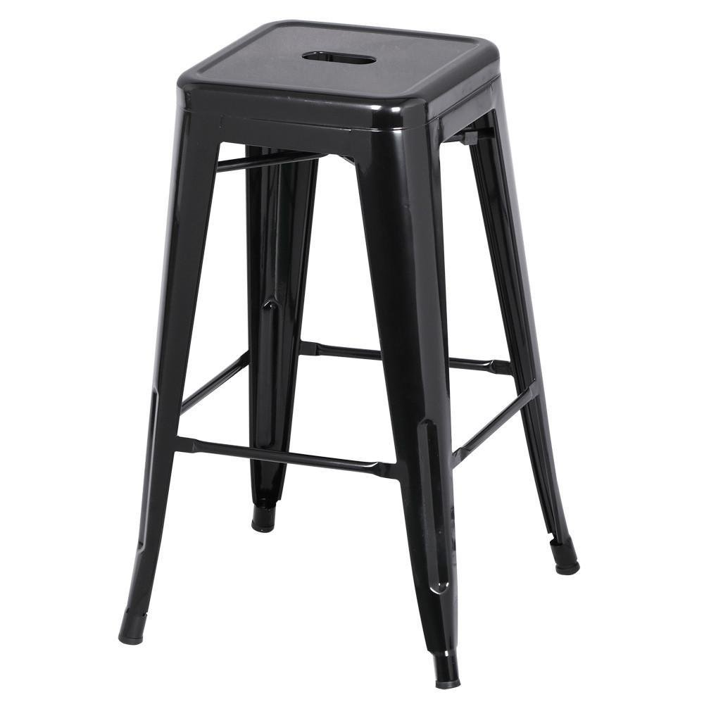 go2buy 6 PCs 26'' Metal Frame Bar Stools Vintage Counter Bar Stool Heavy Duty Black 1