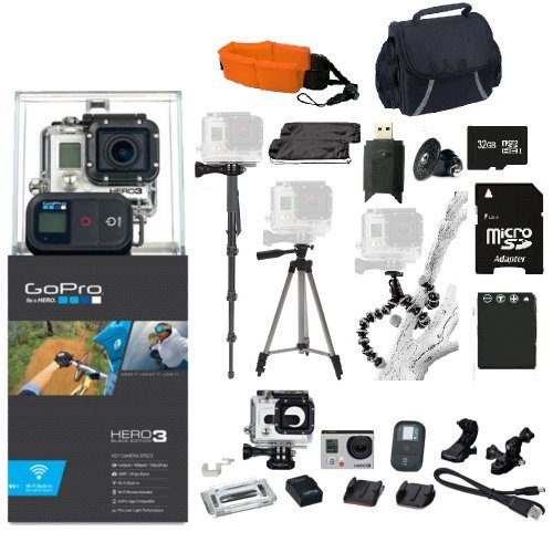 GoPro Hero3: Black Edition Kit. 32GB Micro SD Card, Card Reader, Extra Battery, Floating Strap, Case & Monopod, Tripod & More