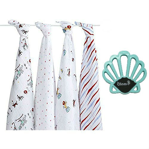 Aden + Anais Bundle - Classic Swaddle in VINTAGE CIRCUS (4) and Blue Clam-P Stroller Blanket Clips (2)