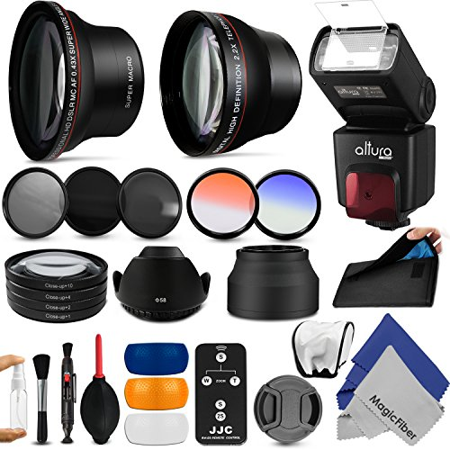 58Mm Complete Accessory Kit For Canon Eos Rebel (T5I T4I T3I T2I T1I Xt Xti Xsi Sl1) - Includes: Altura Photo 0.43X Wide Angle & 2.2X Telephoto High Definition Lenses + Altura Photo Ttl Auto-Focus Dedicated Flash + Remote Control + Vivitar Filter Kit (Uv,
