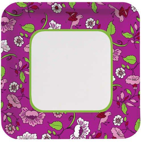 Creative Converting Plumeria Square Large Banquet Plates, 8 Count