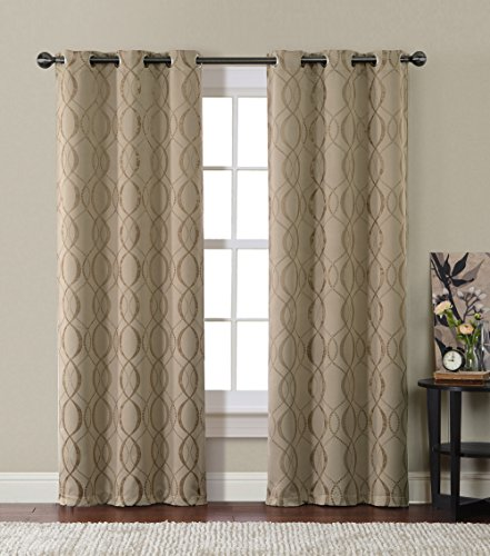 HLC.ME Bryant Energy-Saving Blackout Window Curtain Grommet Panels – Pair – 84″x76″ inch Long (Taupe)