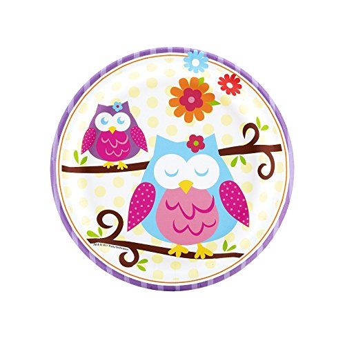 Owl Blossom Dessert Plates (8) Party Supplies by BirthdayExpress