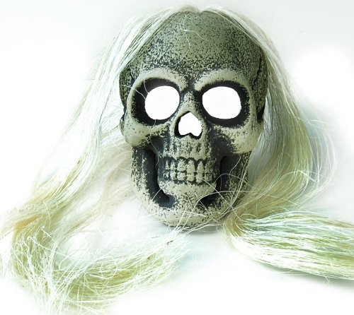 Led White Skull With Hair Scary Halloween Costume Mask Prop
