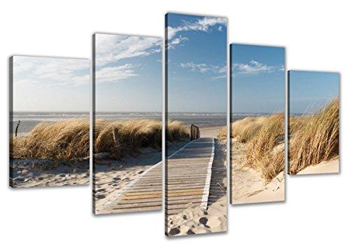 Quadro su tela spiaggia 100 x 50 cm 5 tele modello nr xxl for Tele quadri