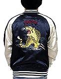 (コンフューズ)CONFUSE スカジャン メンズ ジャケット 虎 タイガー 刺繍 アウター サテン アメカジ ブルゾン cfjk2005 (L,NAVY)