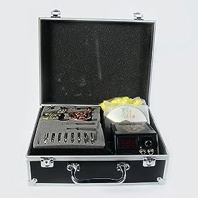 Tattoo Machine Kit Power Supply Needle Grip Ink Skin Tip Storage Case R02