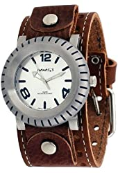 Nemesis #BSTH079S Men's Signature Buoy Analog Wide Leather Cuff Band Watch