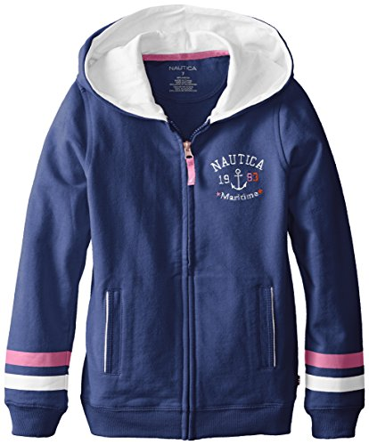 Nautica Big Girls' French Terry Hoody With Rope Trim, Medium Navy, 8 front-977428