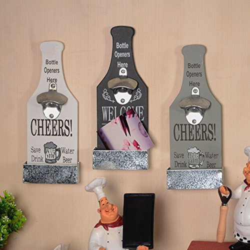Creative American Country Wall Bottle Opener Vintage Retro Beer Shaped Wall Mounted Bottle Openers Cap Catcher Home Decor (white) 1