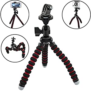 BMOUO® Universal Portable Flexible Tripod Stand for GoPro HERO4 HERO3+ GoPro HERO3 GoPro HERO2 , Compatible with Apple iPhone 6 Plus 5S 5C 5 4S 4 ;Samsung Galaxy S6 S5 mini S4 S3; Note 6 5 4 3 8 10 Edge; HTC One M7 M8 M9; LG G4 G3 G2; Lumia 435 940; Oneplus one and all other Smartphones
