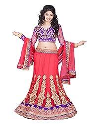 Khodiyar Creation Women's Net Lehenga Saree (Red)