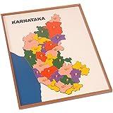 Kidken Montessori Map Puzzle Karnataka,wooden Toys,toys,wooden Teaching Aids,wooden Puzzle
