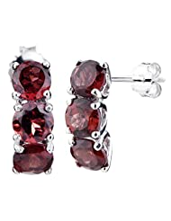 RiVi Sterling Silver 3 Stone Garnet Drop Earrings For Women (2.50 CT)