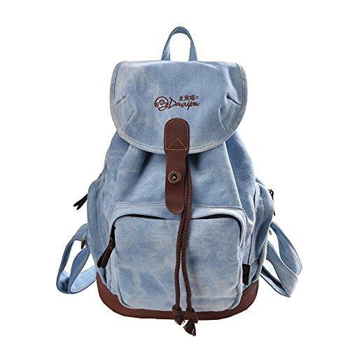 DGY-Womens-Korean-Fashion-Canvas-Backpack-For-College-G00117-Denim-Blue