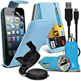 Jumbo 6 IN 1 Car Accessory Pack For Apple Ipod Touch 4 To Choose From Different colours Faux Leather Credit / Debit Card Slots Leather Flip Case + Retractable Touchscreen Stylus Pen + Screen Protector Guard + Unisuction 360 In-Car Windscreen Suction Car