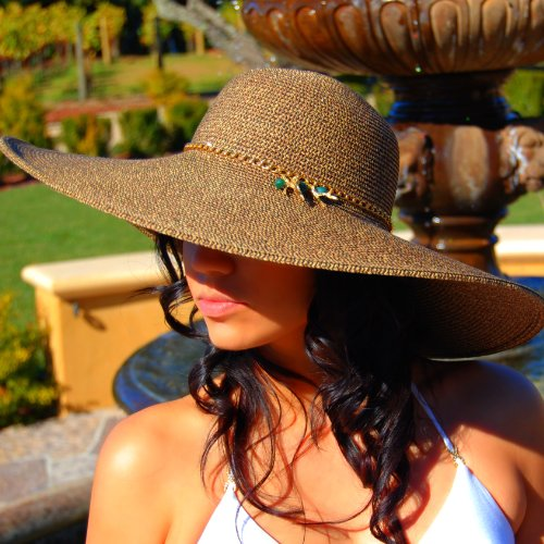 04080 Dashenka Co. Women's Beige Extra-Wide Brim Sun Hat EXUMA II -- Emeralds & 14kt finished Gold Chain