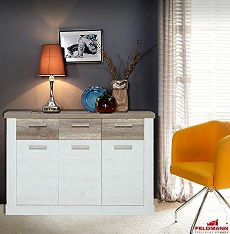 Kommode Sideboard 62332 pinie weiß eiche antik 140cm