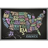 United States of America Stylized Text Map (Black) Poster - 13x19 custom fit with RichAndFramous Black 19 inch Poster Hangers