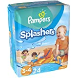 Pampers Splashers, Swim Pants, Size 3/4 Diapers, 24 Count (Pack of 6)