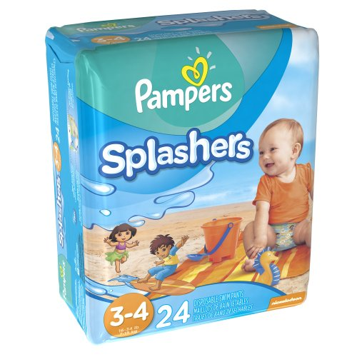 Pampers Splashers, Swim Pants, Size 3/4, 24 Count (Pack of 6)