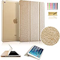 Dteck Ultra Slim Tri-fold Leather Case for Apple iPad Mini 3/ 2/ 1 with Auto Wake/ Sleep Function (Silk Gold)