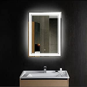 Decoraport Vertical Led Wall Mounted Lighted Vanity Bathroom Silvered Mirror With