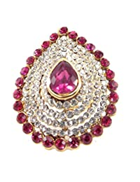 Aria Party Wear Pink Kundan CZ Gold Plated Adjustable Finger Ring Fr254
