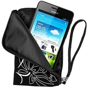 mumbi NEOPREN Zipper Tasche Huawei Ascend G615 G600 Handytasche FLOWER Power schwarz Hülle Beutel