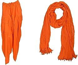 Bhagwati Craft Women's Cotton Regular Fit Patiala With Dupatta (Orange ,SD013 )