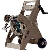 225 Hi Crank Hose Reel Cart w/ Slide Trak Hose Guide For Easy Winding, Mocha