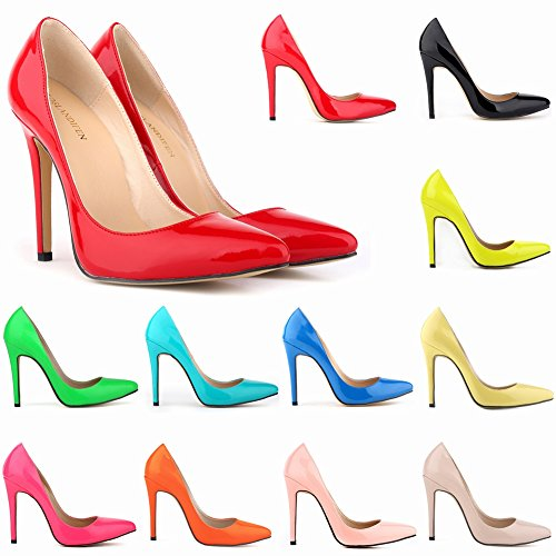 Loslandifen Womens Shoes Closed Toe High Heels Women's Pointed Slender Leather Pumps