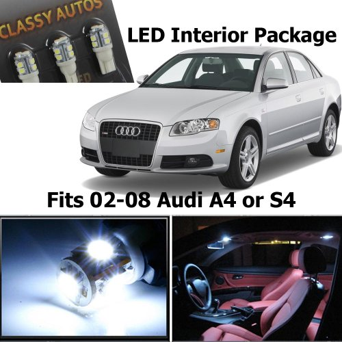 Classy Autos Audi A4 S4 White Led Lights Interior Package Kit B6 B7 (14 Pieces)